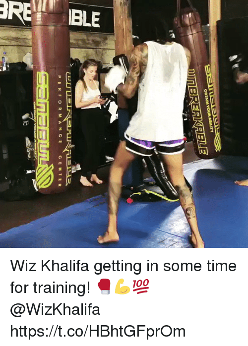 wiz: OBTAINYOUR ABILITY  P ERFOR M A N CE  C ENTER Wiz Khalifa getting in some time for training! 🥊💪💯 @WizKhalifa https://t.co/HBhtGFprOm