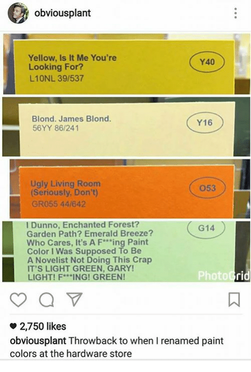 Memes, Ugly, and Paint: obvious plant  Yellow, Is It Me You're  Y40  Looking For?  L10NL 39/537  Blond. James Blond.  Y16  56YY 86/241  Ugly Living Room  (Seriously, Don't)  GR055 44/642  I Dunno, Enchanted Forest?  G14  Garden Path? Emerald Breeze?  Who Cares, It's A F***ing Paint  Color Was Supposed To Be  Novelist Not Doing This Crap  IT'S LIGHT GREEN, GARY!  PhotoGrid  LIGHT! F ING! GREEN!  o 2,750 likes  obvious plant Throwback to when I renamed paint  colors at the hardware store