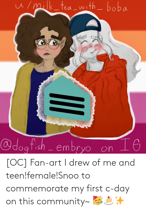 snoo: [OC] Fan-art I drew of me and teen!female!Snoo to commemorate my first c-day on this community~ 🥳🍰✨