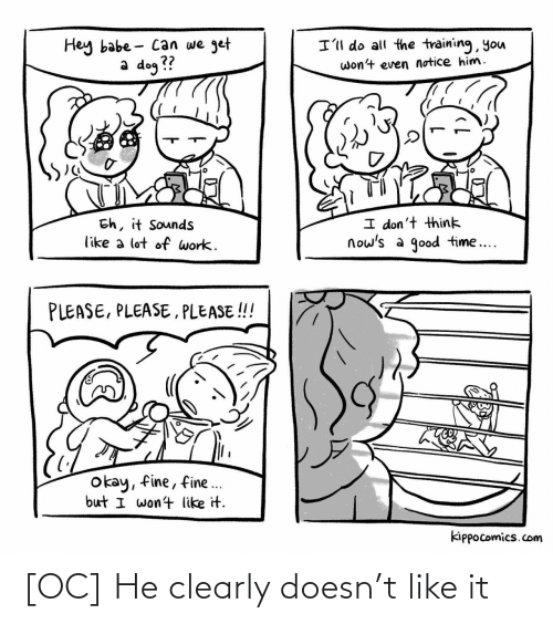 Clearly: [OC] He clearly doesn't like it