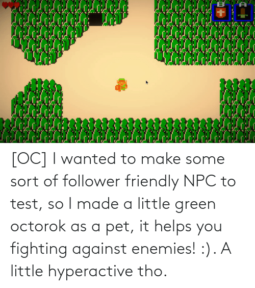 pet: [OC] I wanted to make some sort of follower friendly NPC to test, so I made a little green octorok as a pet, it helps you fighting against enemies! :). A little hyperactive tho.