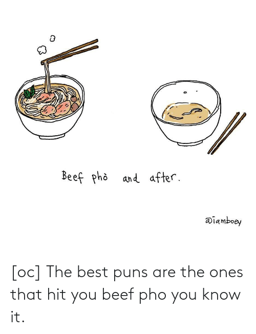 puns: [oc] The best puns are the ones that hit you beef pho you know it.