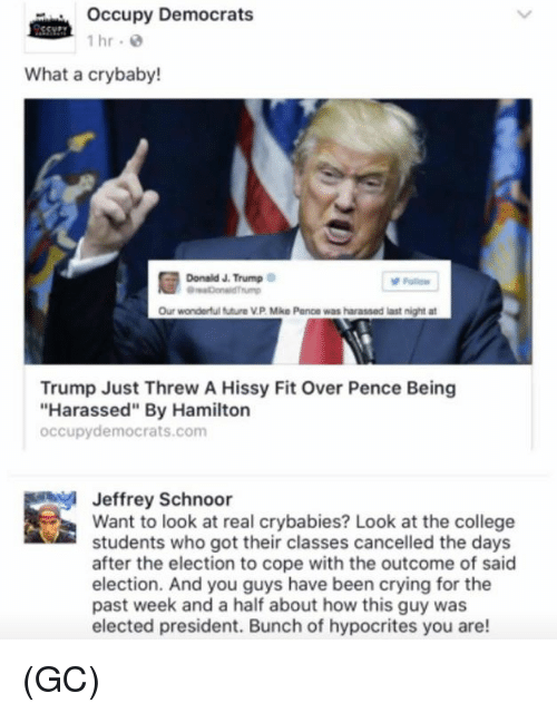 """hissy fit: occupy Democrats  1 hr.  What a crybaby!  Donald J. Trump  Our wonderful futura VP Mike Pence was harassed last night at  Trump Just Threw A Hissy Fit Over Pence Being  """"Harassed"""" By Hamilton  occupy democrats.com  Jeffrey Schnoor  Want to look at real crybabies? Look at the college  students who got their classes cancelled the days  after the election to cope with the outcome of said  election. And you guys have been crying for the  past week and a half about how this guy was  elected president. Bunch of hypocrites you are! (GC)"""