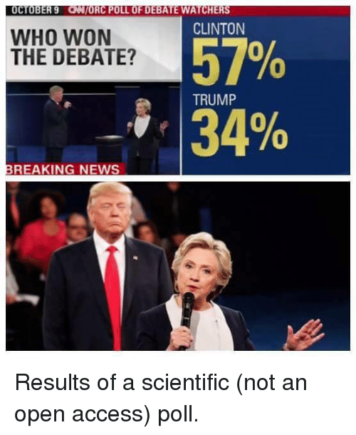 Trump: OCTOBER 9 ONIORC POLL OF DEBATE WATCHERS  CLINTON  WHO WON  THE DEBATE?  TRUMP  BREAKING NEWS Results of a scientific (not an open access) poll.