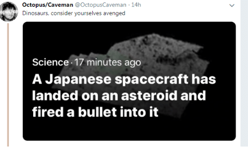 avenged: Octopus/Caveman @OctopusCaveman 14h  Dinosaurs, consider yourselves avenged  Science 17 minutes ago  A Japanese spacecraft has  landed on an asteroid and  fired a bullet into it