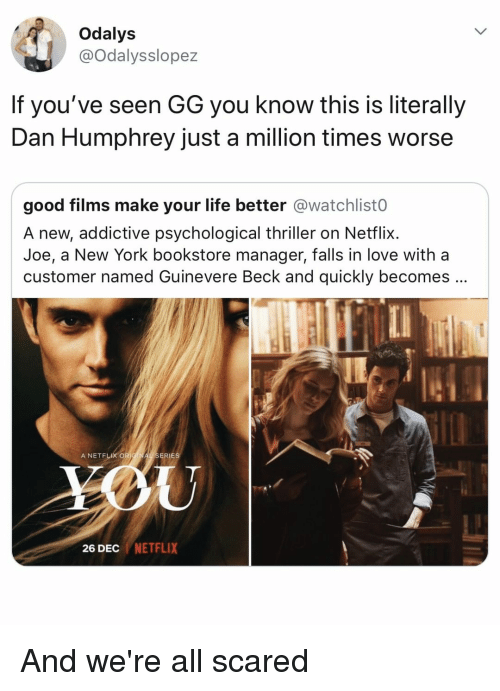 Beck: Odalys  @Odalysslopez  If you've seen GG you know this is literally  Dan Humphrey just a million times worse  good films make your life better @watchlist0  A new, addictive psychological thriller on Netflix.  Joe, a New York bookstore manager, falls in love with a  customer named Guinevere Beck and quickly becomes  A NETFLIX OR  ERIES  26 DEC NETFLIX And we're all scared