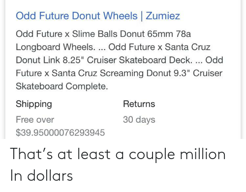 "Santa Cruz: Odd Future Donut Wheels | Zumiez  Odd Future x Slime Balls Donut 65mm 78a  Longboard Wheels. ... Odd Future x Santa Cruz  Donut Link 8.25"" Cruiser Skateboard Deck. ... Odd  Future x Santa Cruz Screaming Donut 9.3"" Cruiser  Skateboard Complete.  Shipping  Returns  30 days  Free over  $39.95000076293945 That's at least a couple million In dollars"