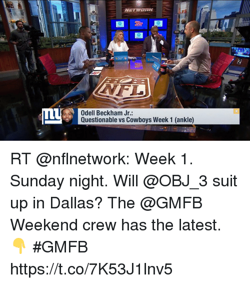 Dallas Cowboys, Memes, and Odell Beckham Jr.: Odell Beckham Jr:  Questionable vs Cowboys Week 1 (ankle) RT @nflnetwork: Week 1. Sunday night. Will @OBJ_3 suit up in Dallas?  The @GMFB Weekend crew has the latest. 👇 #GMFB https://t.co/7K53J1lnv5