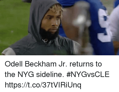 Memes, Odell Beckham Jr., and 🤖: Odell Beckham Jr. returns to the NYG sideline. #NYGvsCLE https://t.co/37tVIRiUnq