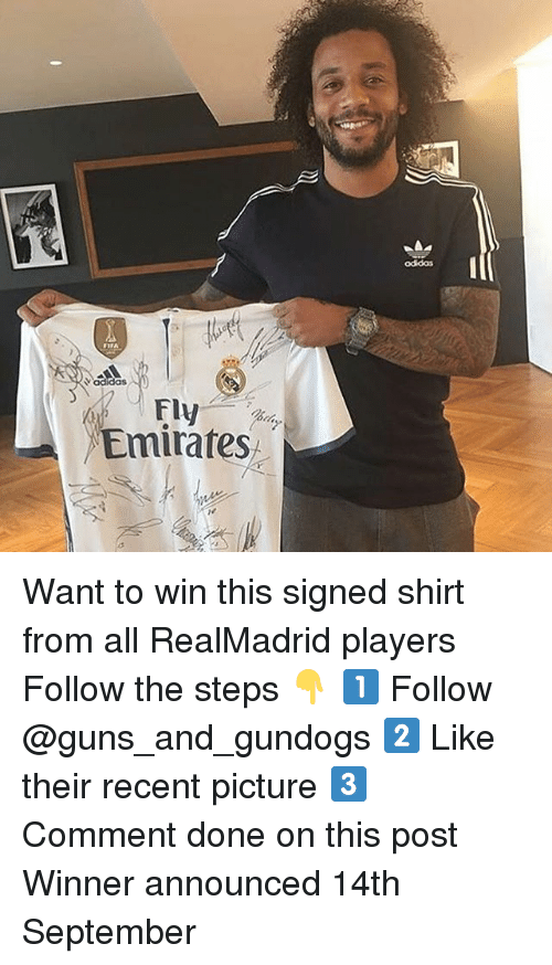 Guns, Memes, and Emirates: odidas  Vadidas  Fly  Emirates Want to win this signed shirt from all RealMadrid players Follow the steps 👇 1️⃣ Follow @guns_and_gundogs 2️⃣ Like their recent picture 3️⃣ Comment done on this post Winner announced 14th September