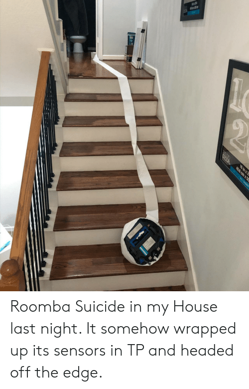 the edge: OEOOR  16 in x 2  40.6 cm x50  BEL MONT Roomba Suicide in my House last night. It somehow wrapped up its sensors in TP and headed off the edge.
