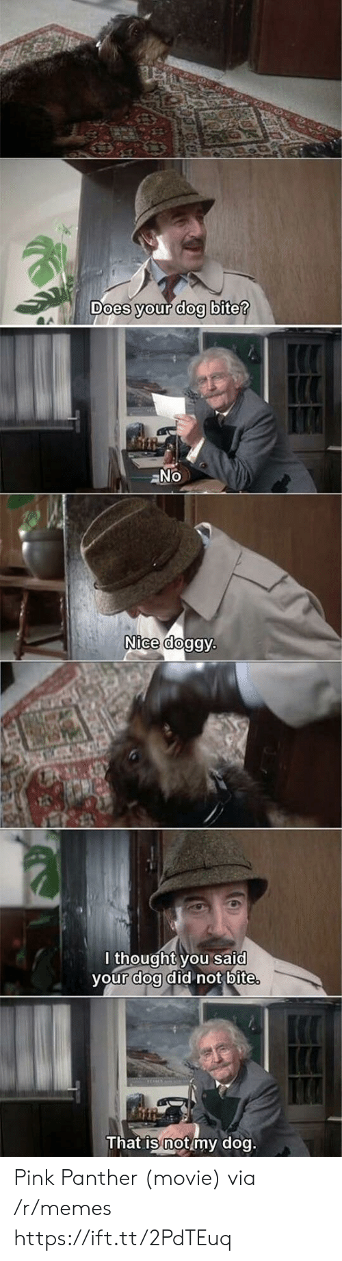 Dog Bite: oes your dog bite  Nice dog  lthought you said  vour doa did not bite  That is not my dog Pink Panther (movie) via /r/memes https://ift.tt/2PdTEuq