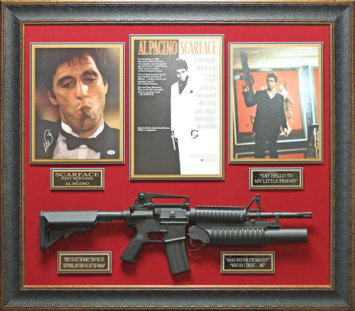 "Scarface: of 1980,  the port at  set sail for the United States.  They came in search  the American Dream.  One of them found it on the  Miami... wealth, power and  He was Tony Montana  The world will remember  him by another name  RIAN DE PALM  He loved the American Dream.  SCARFACE  TONY MONTANA  AL PACINO  ""SAY HELLO TO  MY LITTLE FRIEND""  FIRST YOUGET THE MONEY,THEN YOU GET  THEPOWER,AND THEN YOU GET THE WOMAN  MAKE WAY FOR THE BAD GUY""  WHO DO I TRUST...ME"