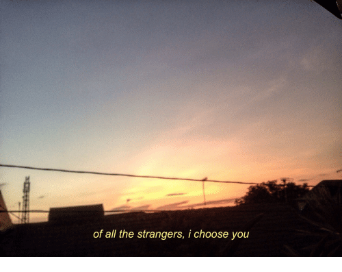 the strangers: of all the strangers, i choose you