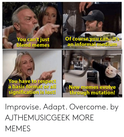 new memes: Of course you can-it's  an informalmedium  You can't just  blend memes  You have to respect  a basic format or all  signification is lost!  New memes evolve  through mutation! Improvise. Adapt. Overcome. by AJTHEMUSICGEEK MORE MEMES