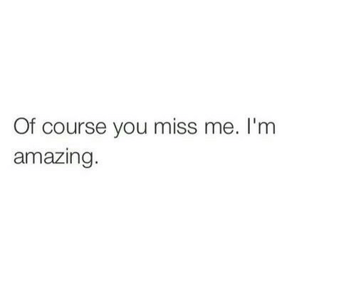 You Miss Me: Of course you miss me. I'm  amazing.