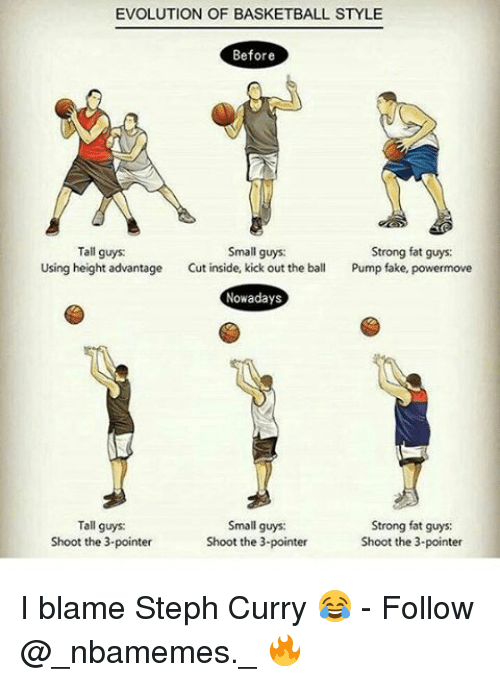 Basketball, Fake, and Memes: OF EVOLUTION OF BASKETBALL STYLE  Before  Small guys  Tall guys.  Strong fat guys:  Using height advantage  Cut inside, kick out the ball  Pump fake, powermove  Nowadays  Small guys:  Tall guys  Strong fat guys  Shoot the 3-pointer  Shoot the 3-pointer  Shoot the 3-pointer I blame Steph Curry 😂 - Follow @_nbamemes._ 🔥