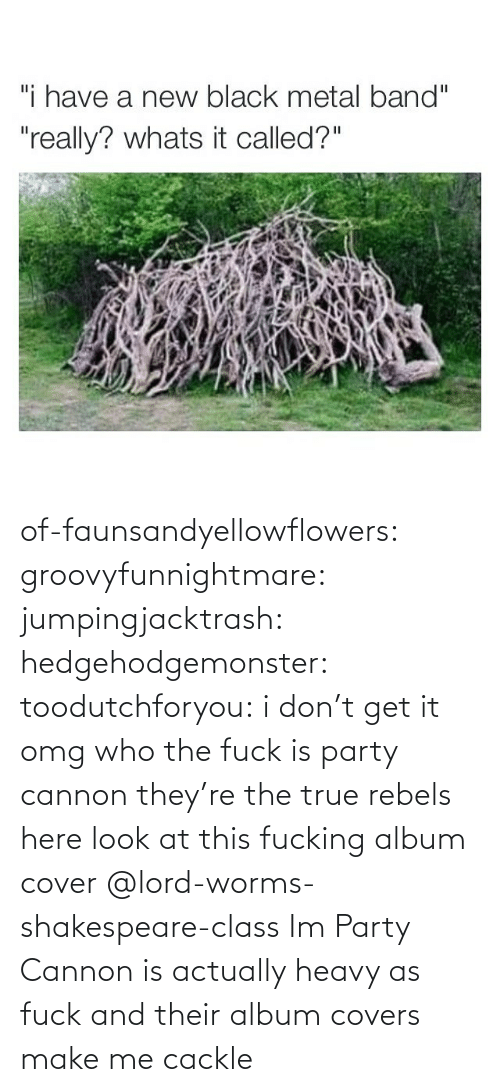 rebels: of-faunsandyellowflowers: groovyfunnightmare:  jumpingjacktrash:  hedgehodgemonster:  toodutchforyou:  i don't get it omg        who the fuck is party cannon they're the true rebels here  look at this fucking album cover    @lord-worms-shakespeare-class Im  Party Cannon is actually heavy as fuck and their album covers make me cackle