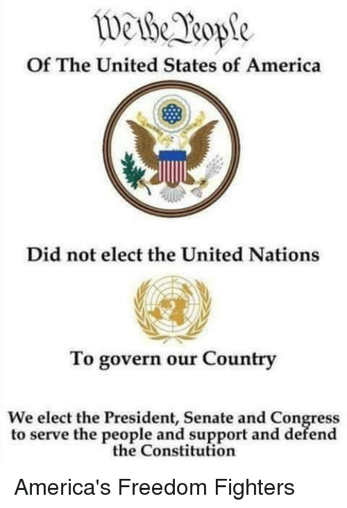 United Stated: Of The United States of America  Did not elect the United Nations  To govern our Country  We elect the President, Senate and Congress  to serve the people and support and defend  the Constitution America's Freedom Fighters