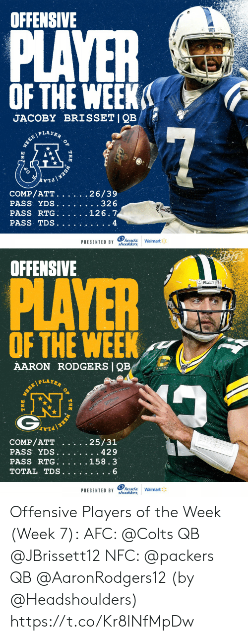 comp: OFFENSIVE  PLAYER  COLTS  OF THE WEEK  JACOBY BRISSET|QB  P LAYER  7  WEEK/  COMP/ATT.  PASS YDS.  PASS RTG  PASS TDS  26/39  . .32 6  126.7  4  head&  shoulders  PRESENTED BY  Walmart  WEEK  THE  )НЕ   OFFENSIVE  PLAYER  PAUS  OF THE WEEK  AARON RODGERS QB  PLAYER  NATIONAL FOOTBALL LEAGUE  COMP/ATT  PASS YDS.  PASS RTG  TOTAL TDS  25/31  429  158.3  6  head&  shoulders  PRESENTED BY  Walmart  OF  THE  WEER/  WEEK Offensive Players of the Week (Week 7):  AFC: @Colts QB @JBrissett12 NFC: @packers QB @AaronRodgers12  (by @Headshoulders) https://t.co/Kr8INfMpDw