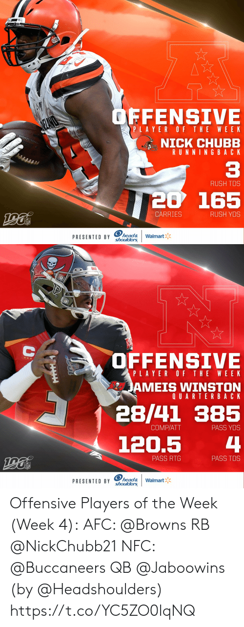 comp: OFFENSIVE  SEANO  PLAYER OF THE WEE K  NICK CHUBB  RUNNING BACK  OTBALL LEAGUE  C3  RUSH TDS  20 165  CARRIES  RUSH YDS  NFL  PRESENTED BY head&  shoulders  Walmart   OFFENSIVE  PLAYER OF THE WEEK  JAMEIS WINSTON  QUARTERBACK  28/41 385  COMP/ATT  PASS YDS  4  120.5  PASS RTG  PASS TDS  NFL  PRESENTED BY head&  shoulders  Walmart  AA Offensive Players of the Week (Week 4):  AFC: @Browns RB @NickChubb21  NFC: @Buccaneers QB @Jaboowins    (by @Headshoulders) https://t.co/YC5ZO0lqNQ