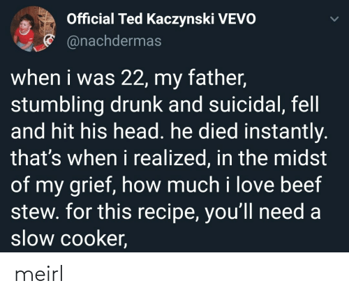 Beef: Official Ted Kaczynski VEVO  * @nachdermas  when i was 22, my father,  stumbling drunk and suicidal, fell  and hit his head. he died instantly.  that's when i realized, in the midst  of my grief, how much i love beef  stew. for this recipe, you'll need a  slow cooker, meirl