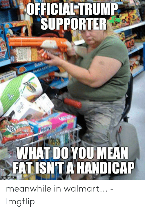 Meanwhile In Walmart: OFFICIAL TRUMP  SUPPORTER  WHAT DO YOU MEAN  FAT ISNTA HANDICAP meanwhile in walmart... - Imgflip