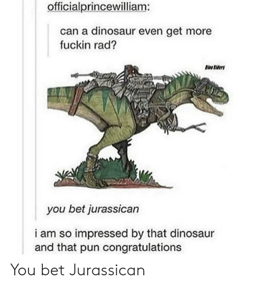 you bet: officialprincewilliam:  can a dinosaur even get more  fuckin rad?  you bet jurassican  i am so impressed by that dinosaur  and that pun congratulations You bet Jurassican