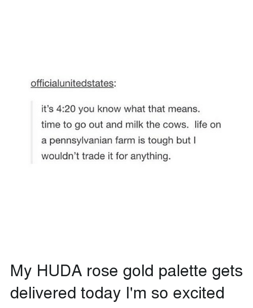 4:20: officialunitedstates:  it's 4:20 you know what that means.  time to go out and milk the cows. life on  a pennsylvanian farm is tough but l  wouldn't trade it for anything. My HUDA rose gold palette gets delivered today I'm so excited