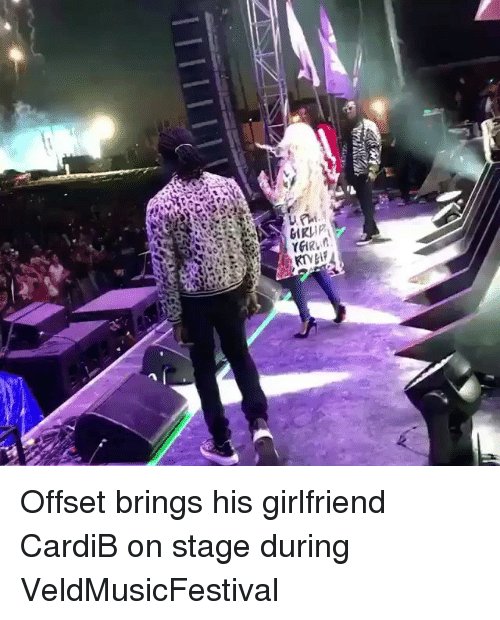 Memes, Girlfriend, and 🤖: Offset brings his girlfriend CardiB on stage during VeldMusicFestival