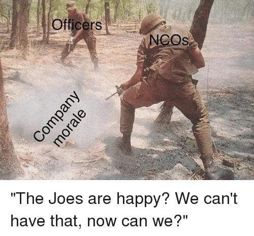 "joes: Oficers  NCOs ""The Joes are happy? We can't have that, now can we?"""
