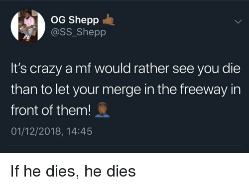 freeway: OG Shepp  @SS_Shepp  It's crazy a mf would rather see you die  than to let your merge in the freeway in  front of them!  01/12/2018, 14:45 If he dies, he dies