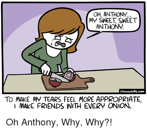 Friends, Onion, and Com: OH, ANTHONY.  MY SNEET SWEET  ANTHON  channelate.com  TO MAKE MY TEARS FEEL MORE APPROPRIATE,  I MAKE FRIENDS WITH EVERY ONION. <p>Oh Anthony, Why, Why?!</p>