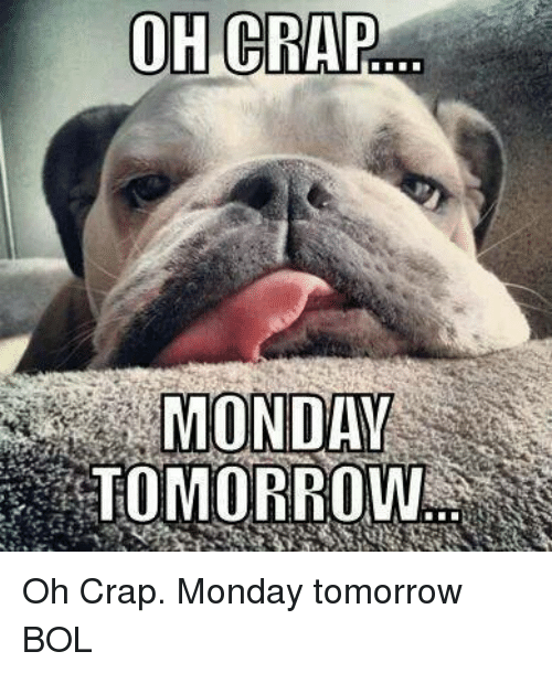 Memes, Tomorrow, and Monday: OH CRAP  MONDAY  TOMORROW Oh Crap. Monday tomorrow    BOL
