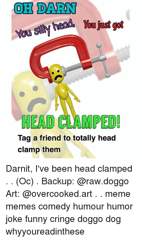 Funny, Head, and Meme: OH DARN  HEAD CLAM PED!  Tag a friend to totally head  clamp them Darnit, I've been head clamped . . (Oc) . Backup: @raw.doggo Art: @overcooked.art . . meme memes comedy humour humor joke funny cringe doggo dog whyyoureadinthese