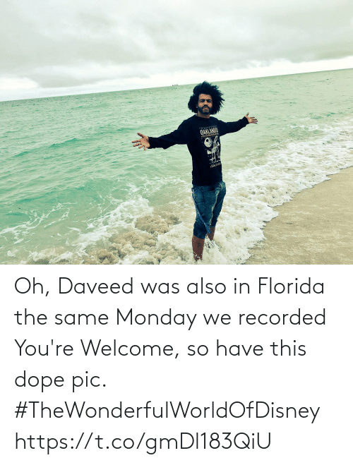 dope: Oh, Daveed was also in Florida the same Monday we recorded You're Welcome, so have this dope pic. #TheWonderfulWorldOfDisney https://t.co/gmDl183QiU