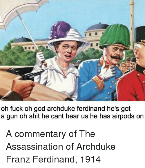 Assassination: oh fuck oh god archduke ferdinand he's got  a gun oh shit he cant hear us he has airpods or A commentary of The Assassination of Archduke Franz Ferdinand, 1914