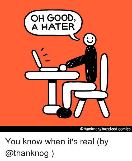 Memes, Buzzfeed, and Good: OH GOOD,  A HATER  Qthanknog/buzzfeed comics You know when it's real (by @thanknog )
