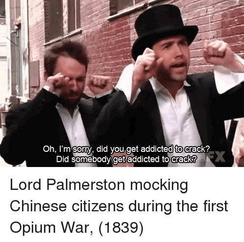 oh-im-sorry: Oh, I'm sorry, did you.get addicted to crack?  dtoc  Did somebody  get addicted to crack? Lord Palmerston mocking Chinese citizens during the first Opium War, (1839)