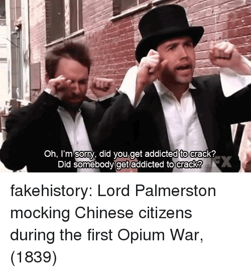 oh-im-sorry: Oh, I'm sorry, did you.get addicted to crack?  dtoc  Did somebody  get addicted to crack? fakehistory:  Lord Palmerston mocking Chinese citizens during the first Opium War, (1839)