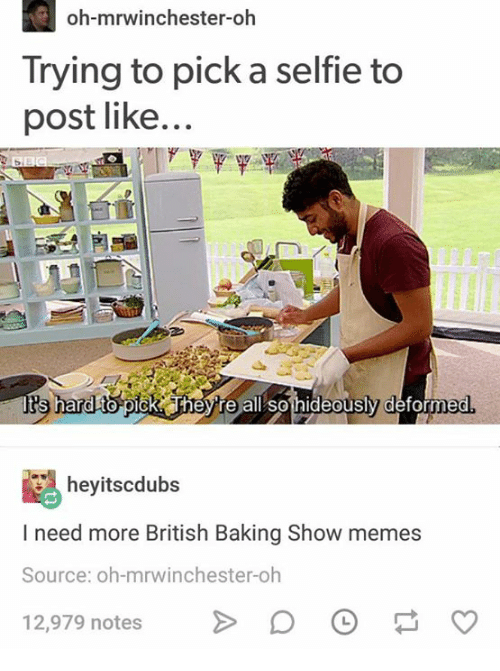 Memes, Selfie, and British: oh-mrwinchester-oh  Trying to pick a selfie to  post like...  tts hard to- pick T  hey re all so hideously deform  ed  heyitscdubs  I need more British Baking Show memes  Source: oh-mrwinchester-oh  12,979 notes>