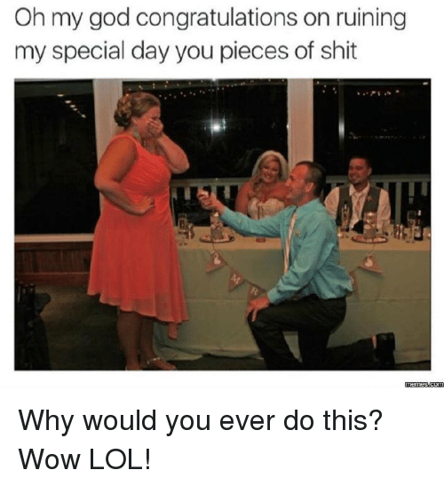 Wow Lol: Oh my god congratulations on ruining  my special day you pieces of shit  memes.com Why would you ever do this? Wow LOL!