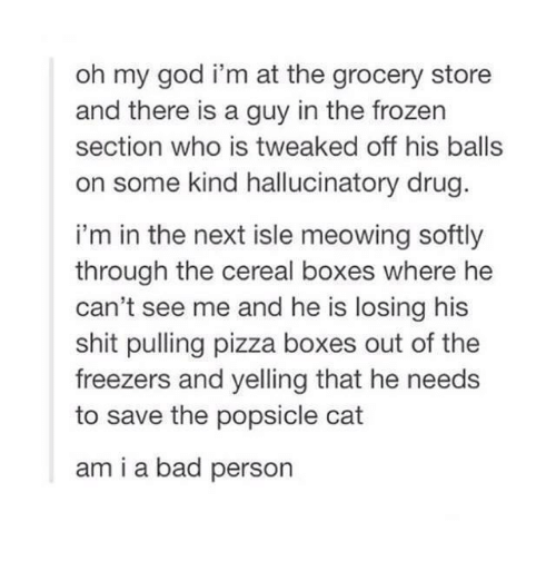 Bad, Boxing, and Cats: oh my god i'm at the grocery store  and there is a guy in the frozen  section who is tweaked off his balls  on some kind hallucinatory drug.  i'm in the next isle meowing softly  through the cereal boxes where he  can't see me and he is losing his  shit pulling pizza boxes out of the  freezers and yelling that he needs  to save the popsicle cat  ami a bad person
