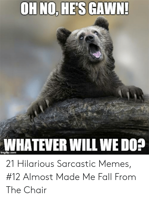 Hilarious Sarcastic: OH NO, HES GAWN!  WHATEVER WILL WE D0?  imgfip.com 21 Hilarious Sarcastic Memes, #12 Almost Made Me Fall From The Chair