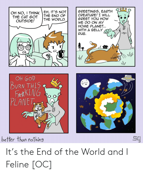 Earth, Home, and World: OH NO, I THINK EH, IT'S NOT  THE CAT GOT  OUTSIDE!  GREETINGS, EARTH  CREATURE! I WILL  GREET YOU HOW  WE DO ON MY  HOME PLANET...  WITH A BELLY  RUB  THE END OF  THE WORLD  NM  109 HO  BURN THIS  FaKING  PLANET  better than nothing It's the End of the World and I Feline [OC]