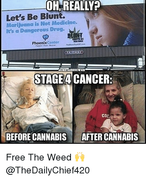 Memes, Weed, and Cancer: OH,REALLY?  Let's Be Blunt.  Marijuanca is Not Medicine.  It's a Dangerous Drug.  454  PhoenixCenter  STAGE 4 CANCER:  COC  BEFORE CANNABIS  AFTER CANNABIS Free The Weed 🙌 @TheDailyChief420