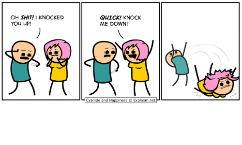 Dank, Shit, and Cyanide and Happiness: OH SHIT! 1 KNOCKED  YOu UP  QUICK! KNOCK  ME DOWN!  Ч Cyanide and Happiness e Explosm.netP