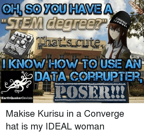 Memes, How To, and 🤖: OH, SO YOU HAVE A  Eogineuring  KNOW HOW TO USE AN  DATA CORRUPTER  EarthQuakerDevices Makise Kurisu in a Converge hat is my IDEAL woman
