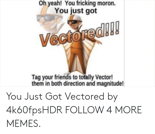 vector: Oh yeah! You fricking moron.  You just got  Vectored!!!  Tag your friends to totally Vector!  them in both direction and magnitude! You Just Got Vectored by 4k60fpsHDR FOLLOW 4 MORE MEMES.