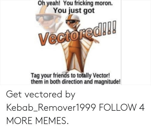 vector: Oh yeah! You fricking moron.  You just got  Vectored!!!  Tag your friends to totally Vector!  them in both direction and magnitude! Get vectored by Kebab_Remover1999 FOLLOW 4 MORE MEMES.